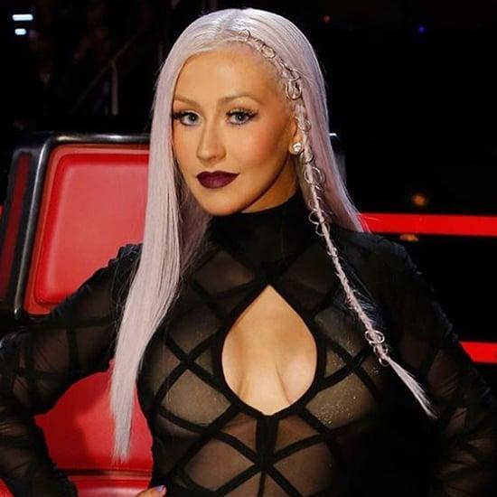 Christina Aguilera's Lavender Pierced Hair May 2016