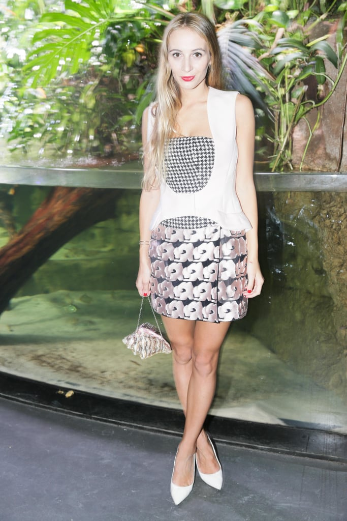 Harley Viera-Newton was at her prettiest in a pink floral design at Kenzo's afterparty.