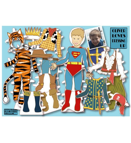 Personalized Boy's Paper Doll Kit