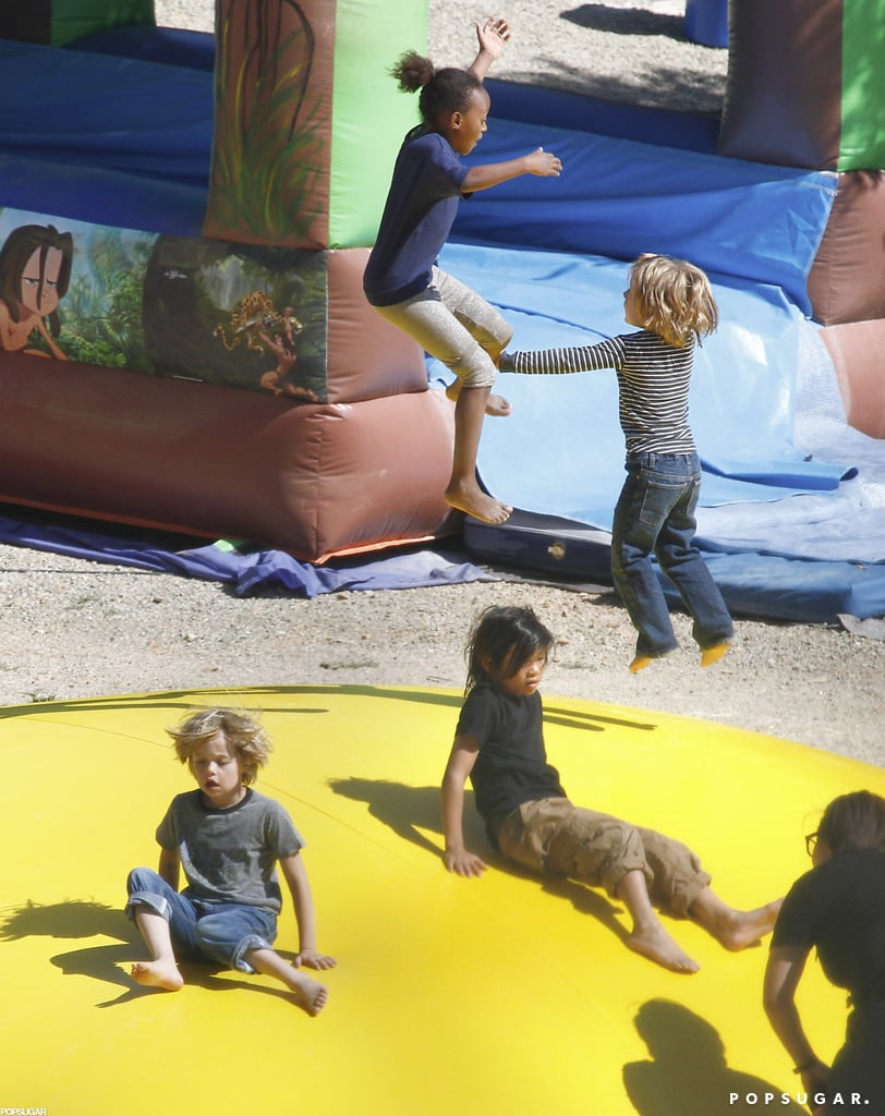 The Jolie-Pitt kids played at a French park.