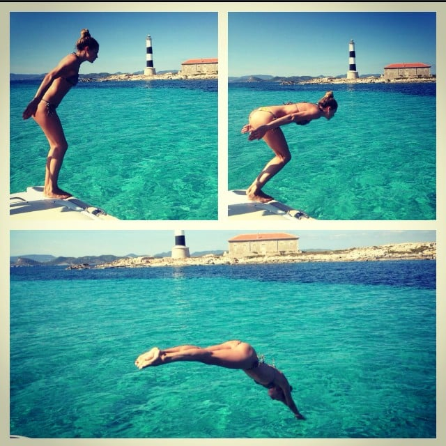 Doutzen Kroes showed off her diving prowess while in Ibiza. Source: Instagram user doutzen