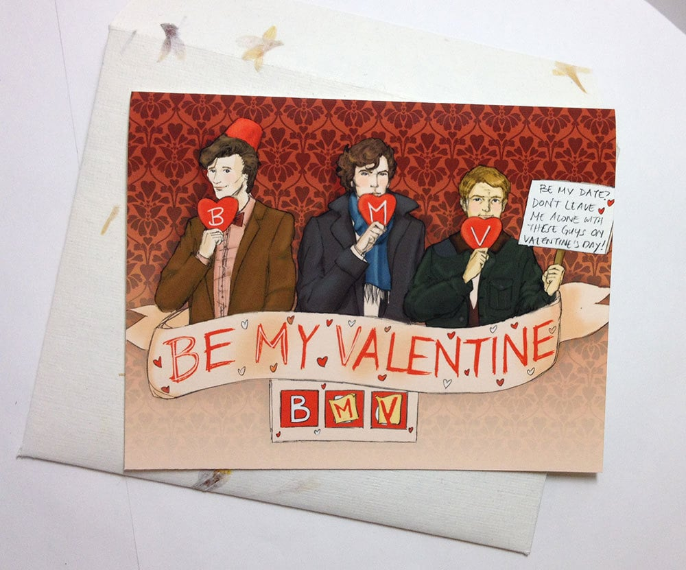 A Valentine proposal ($5-$6) from Sherlock and Doctor Who? Now we're talkin'.