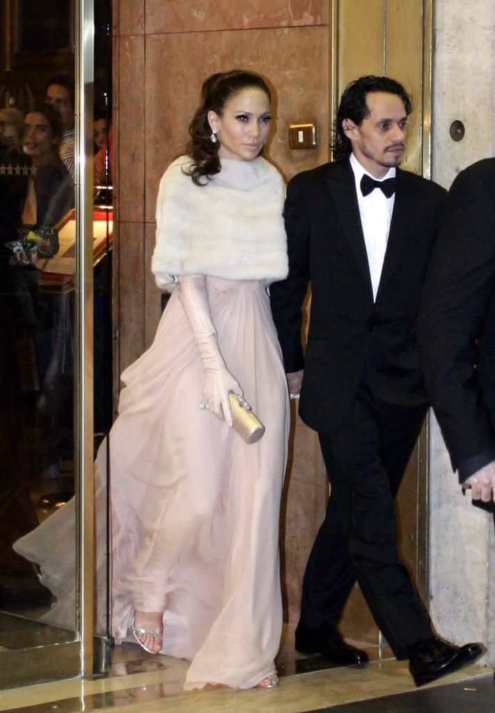 Jennifer Lopez held onto then-husband Marc Anthony while en route to Tom Cruise and Katie Holmes's July 2006 wedding in Rome.