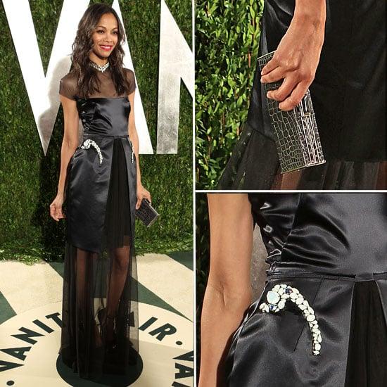 Zoe Saldana Wears Sheer Black Marios Schwab Dress to the Vanity Fair Oscars After Party: Do You Approve?