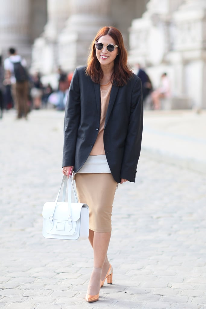 A slim pencil skirt git a little volume and a menswear contrast with a boxy blazer.