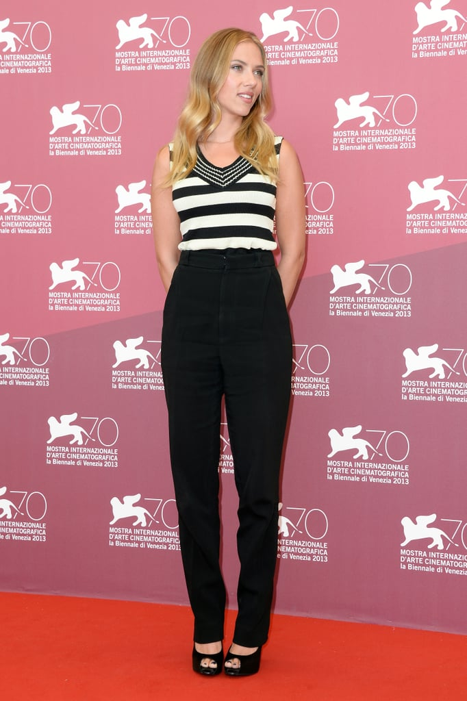 Scarlett Johansson rocked high-waisted Roland Mouret trousers with a black-and-white striped Sonia Rykiel top and Roger Vivier peep-toe pumps at the Under the Skin photo call during the Venice Film Festival.