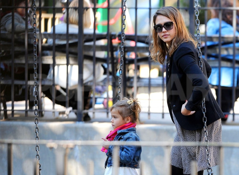 Jessica Alba and Honor Warren took a stroll around a playground in NYC.