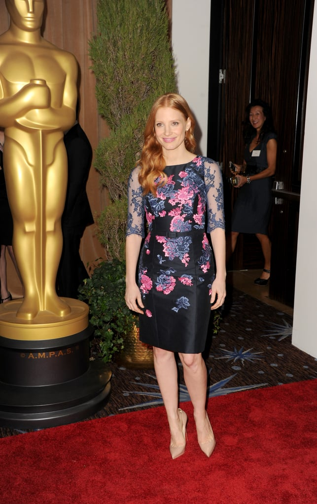 Jessica Chastain looked fabulous in a floral dress at the 2013 Academy Awards Nominations Luncheon in Beverly Hills.