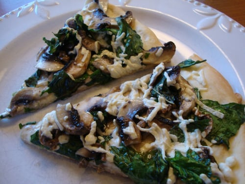 Mushroom and Spinach Pizza with Truffle Oil