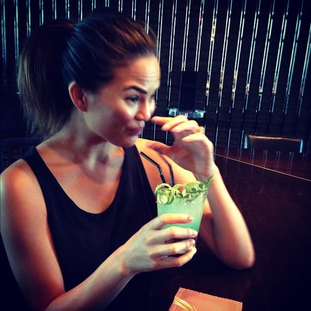 Chrissy Teigen sipped a strong cocktail. Source: Instagram user chrissy_teigen
