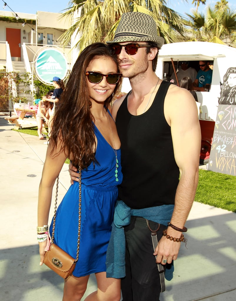 Nina Dobrev and Ian Somerhalder hung out poolside at Coachella in April 2012.