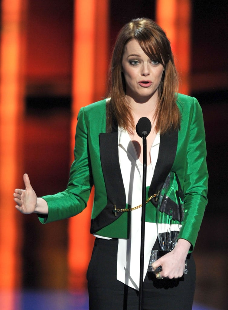 Emma Stone accepted her People's Choice Award for favorite movie actress.