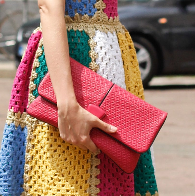 A sophisticated clutch played opposites against '70s-feeling crochet.