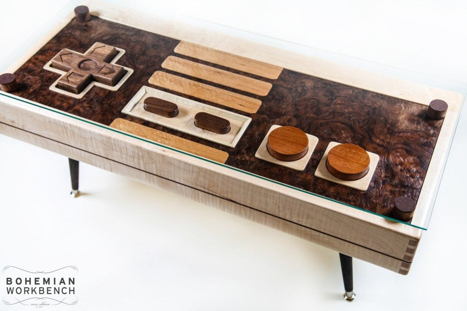 Stop everything, because compared to similar Nintendo controller coffee tables, this wood one (custom order) is a steal.
