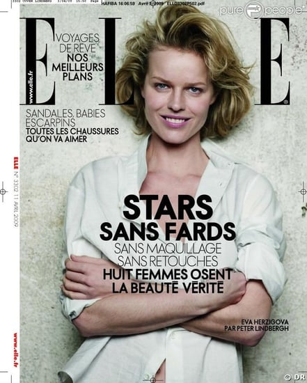 Eva Herzigova, Ines de la Fressange Go Without Makeup, Retouching for French Elle Covers