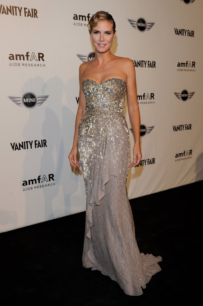 Heidi in glittering, metallic Roberto Cavalli.