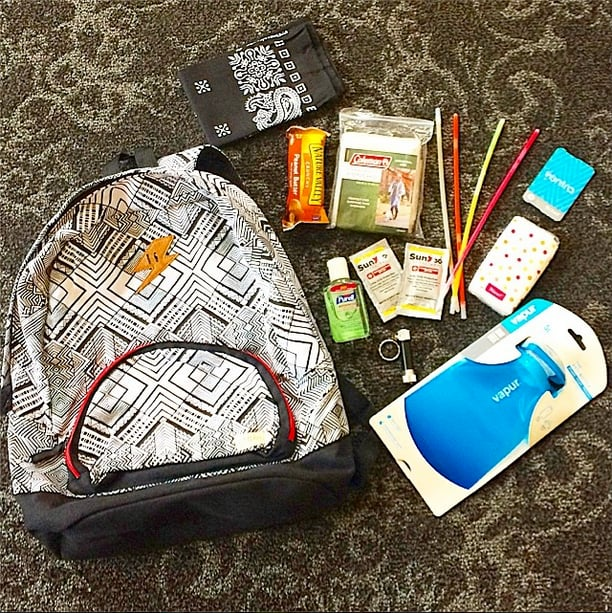 How to survive the ravages of a weekend-long music festival? Pack your knapsack with SPF, hand sanitizer, an energy bar, and a few glow sticks.  Source: Instagram user POPSUGARBeauty