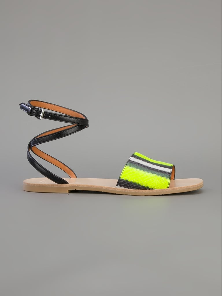 From the luxe python texture to the vibrant color palette — you know what it is: black and yellow, black and yellow — these Marc by Marc Jacobs sandals ($287) speak for themselves. — Mandi Villa