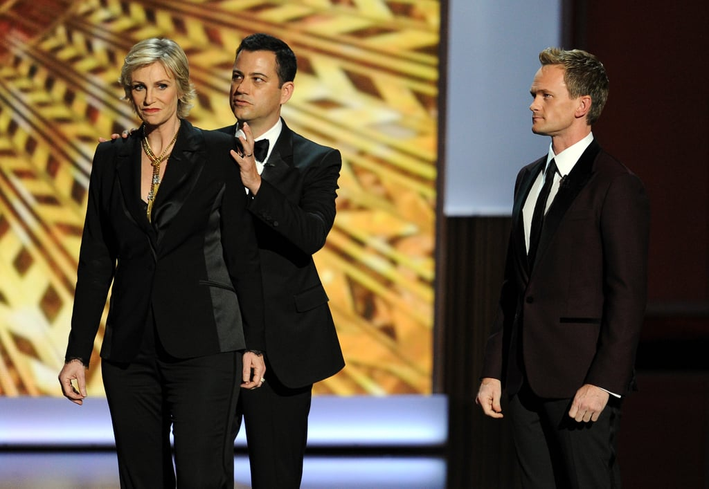 Jane Lynch joined the guys on stage for the opening monologue.