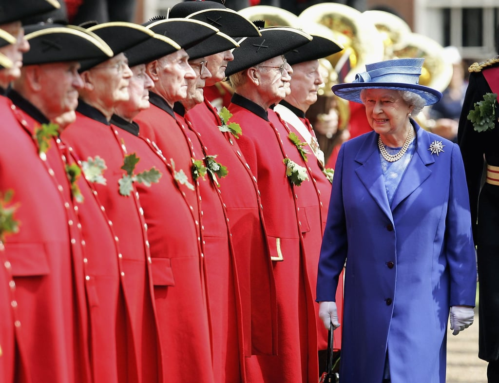 The Queen stood out in blue at the Founder's Day Parade in London in June 2006.