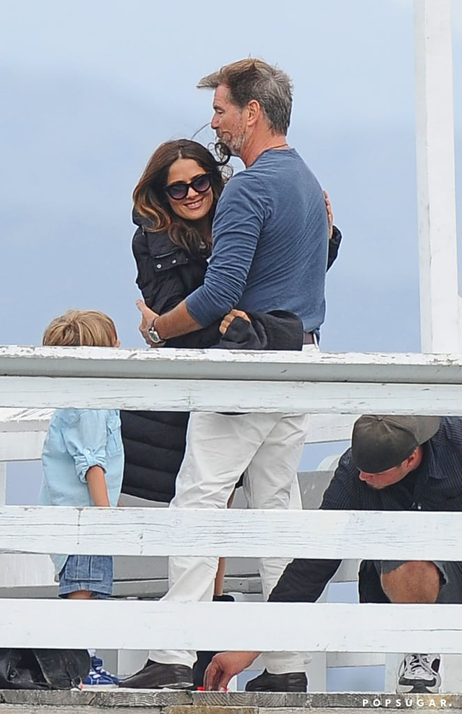 Pierce Brosnan and Salma Hayek cozied up to film How to Make Love Like an Englishman in LA on Thursday.