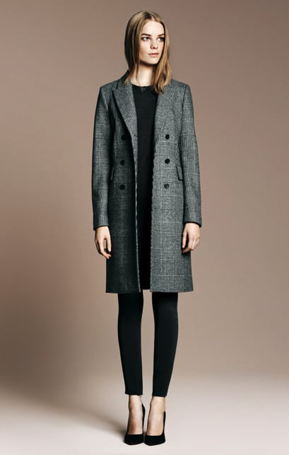 Checked Coat ($169), Wide Heeled Pointed Toe Court Shoe ($100)