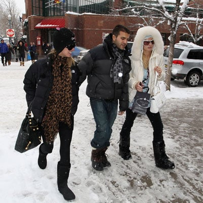 Paris Hilton, Nicky Hilton and David Katzenberg in Aspen