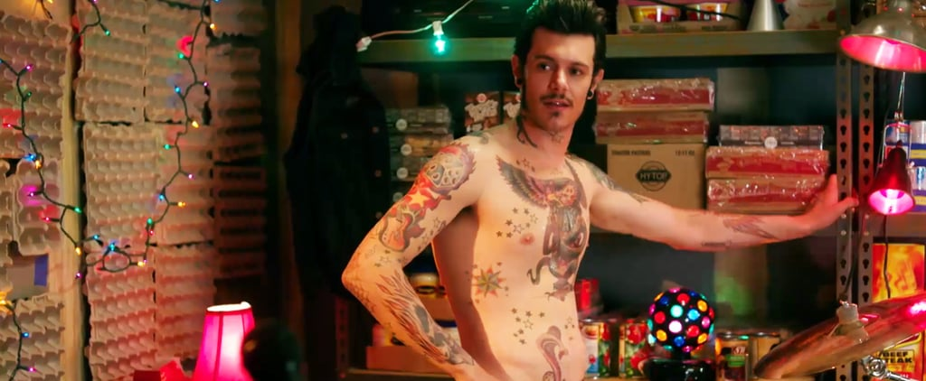 Adam Brody Is Shirtless, Tattooed, and Playing the Drums in This Exclusive Yoga Hosers Clip
