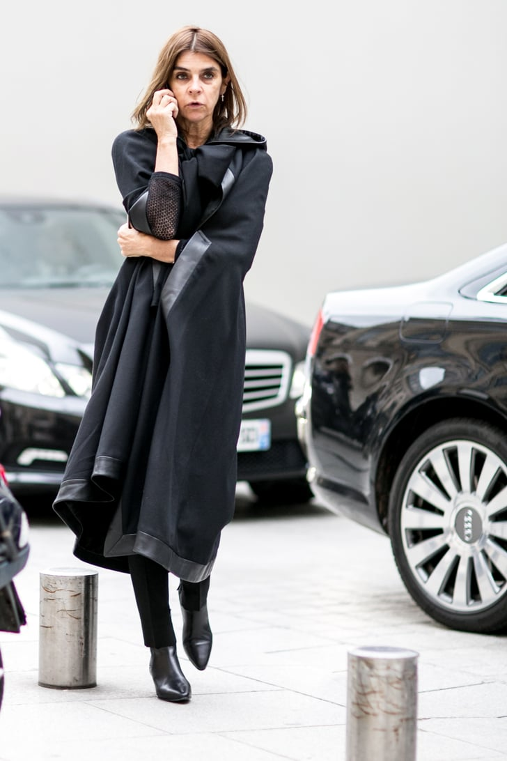 The Master Of Moody Chic Carine Roitfeld Worked Black Head To Toe See The Street Style Magic