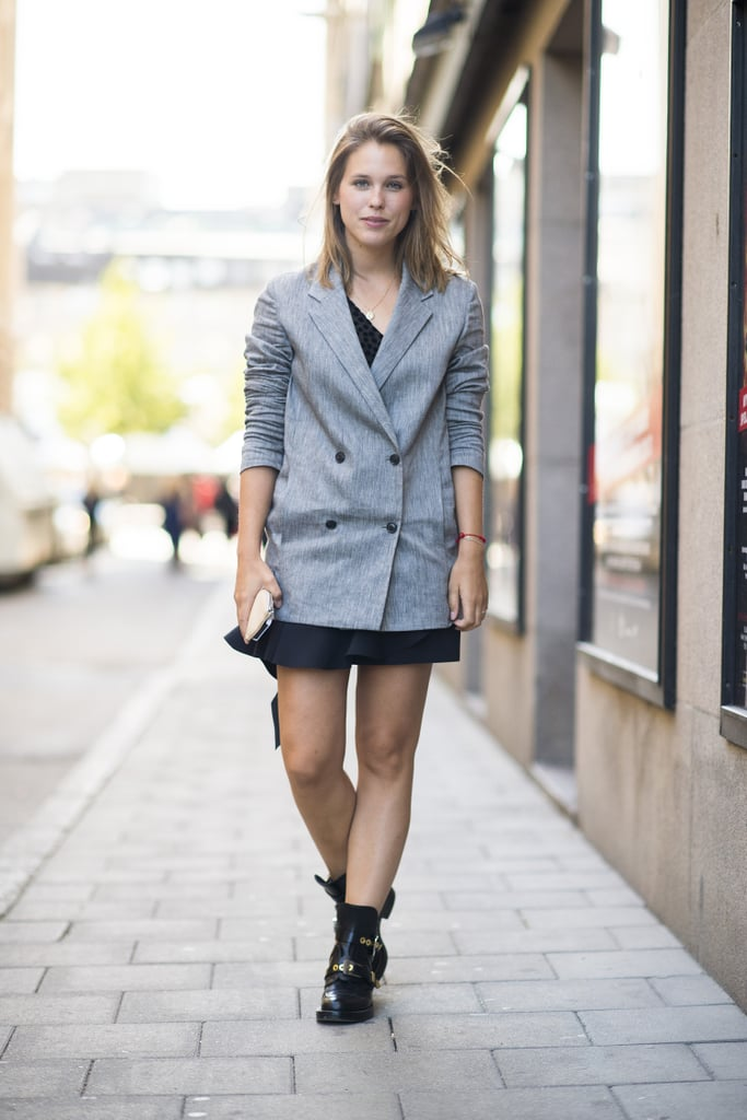 The coolest way to finish a flirty mini? With a menswear-inspired blazer. Source: Le 21ème | Adam Katz Sinding