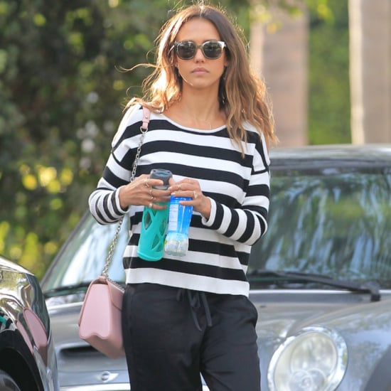Jessica Alba Wears a Cold-Shoulder Sweater