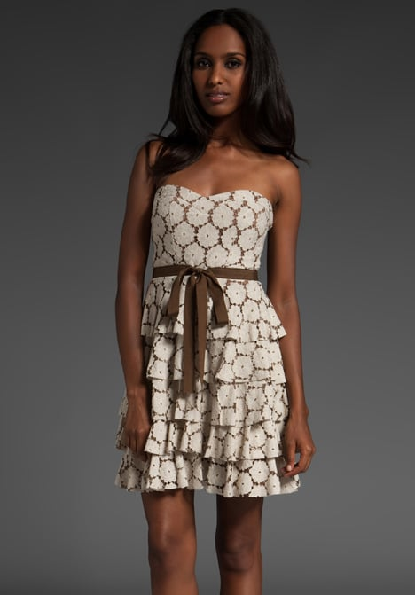 A delicate, femme little find that looks a lot more luxe than its price tag.  MM Couture by Miss Me Strapless Tie Waist Dress (approx $94)