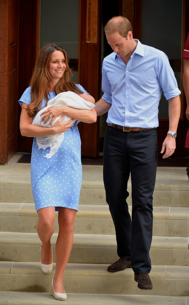 Prince William led Kate Middleton down the steps as they introduced the royal baby to the world.