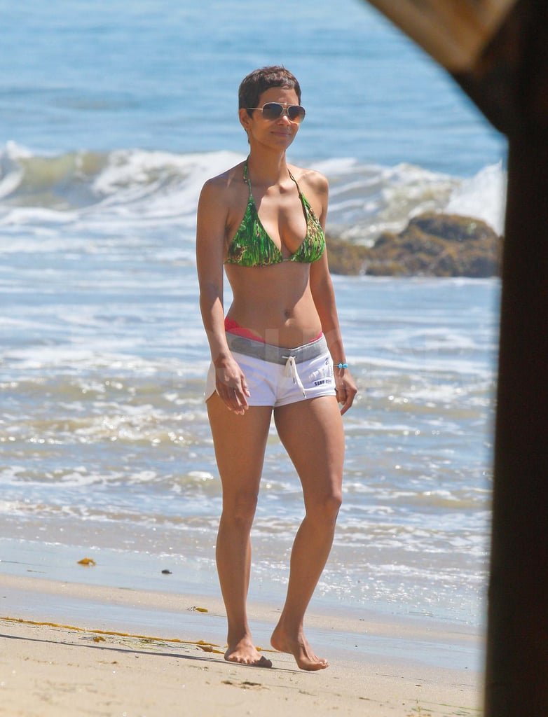 Halle Berry Brings Her Hot Body, Tiny Bikini, and Adorable Nahla to the Beach!