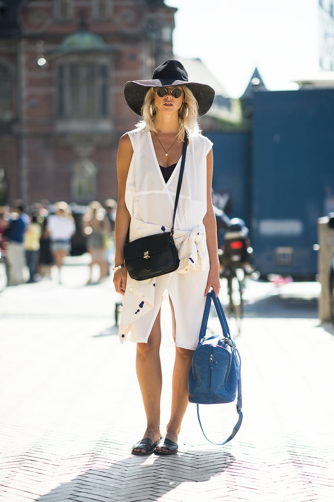 Not like your average LWD, this one comes with a cool asymmetrical cut and a lower, sexy neckline. Temper it with flat sandals and a crossbody bag by day; play it up with a red lip and heels by night.