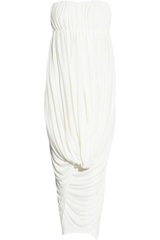 This column gown has all the makings of a goddess-like Grecian gown, in a totally modern way.  Sophia Kokosalaki Erato Strapless Crepe-Jersey Dress ($1,950)