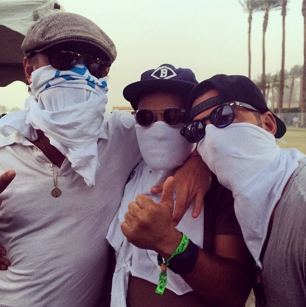 Leonardo DiCaprio (left) covered his face with a t-shirt ... Leonardo Dicaprio Instagram