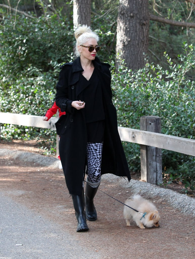 Gwen Stefani wore patterned pants for a walk in the park.