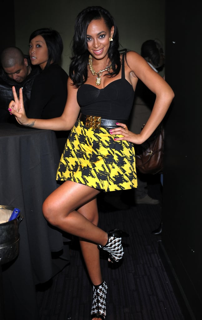 For the Black Eyed Peas 2009 benefit concert, Solange brought major flair in a yellow-and-black houndstooth skirt and plaid ankle booties.