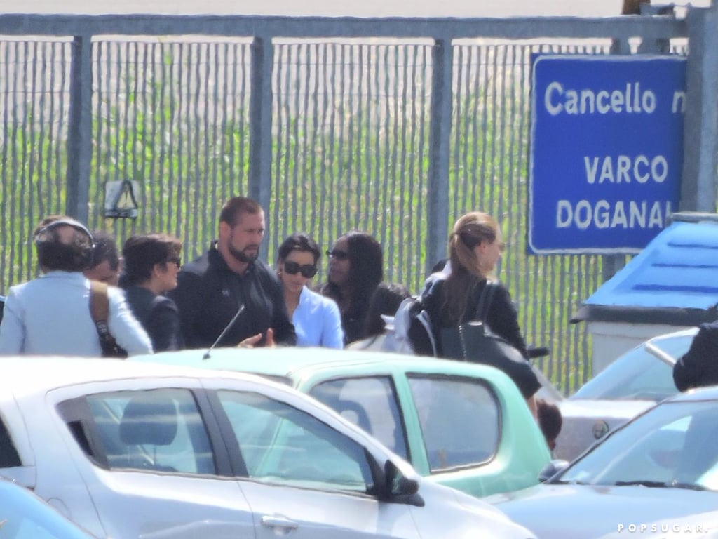 Kim arrived with her mother in Florence.