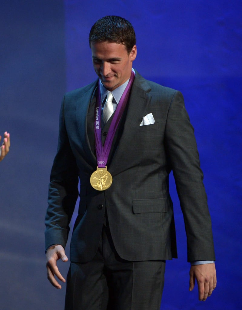 Ryan Lochte showed off his gold medal at the ALMA Awards in LA.