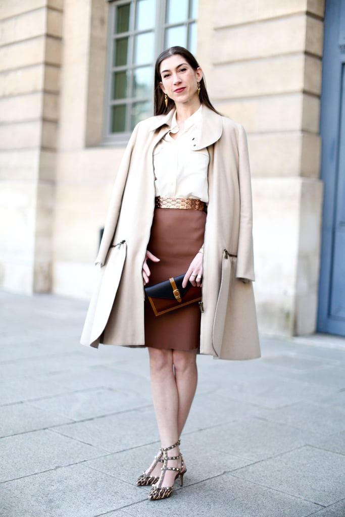 A sophisticated play on neutrals, with a pair of high-wattage heels to counter.