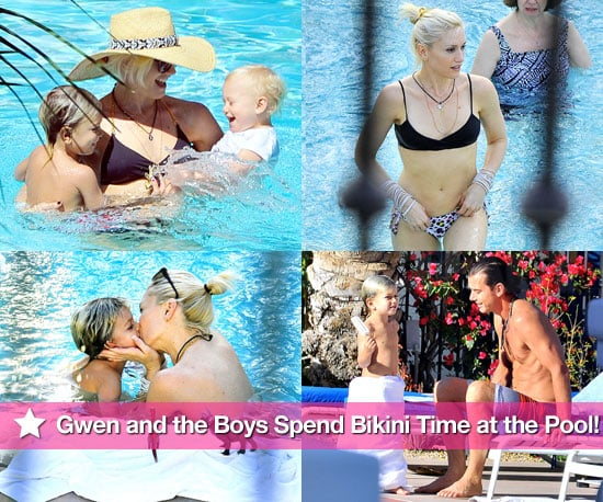 Photos of Gwen Stefani in a Bikini With Gavin, Kingston and Zuma Rossdale at the Pool