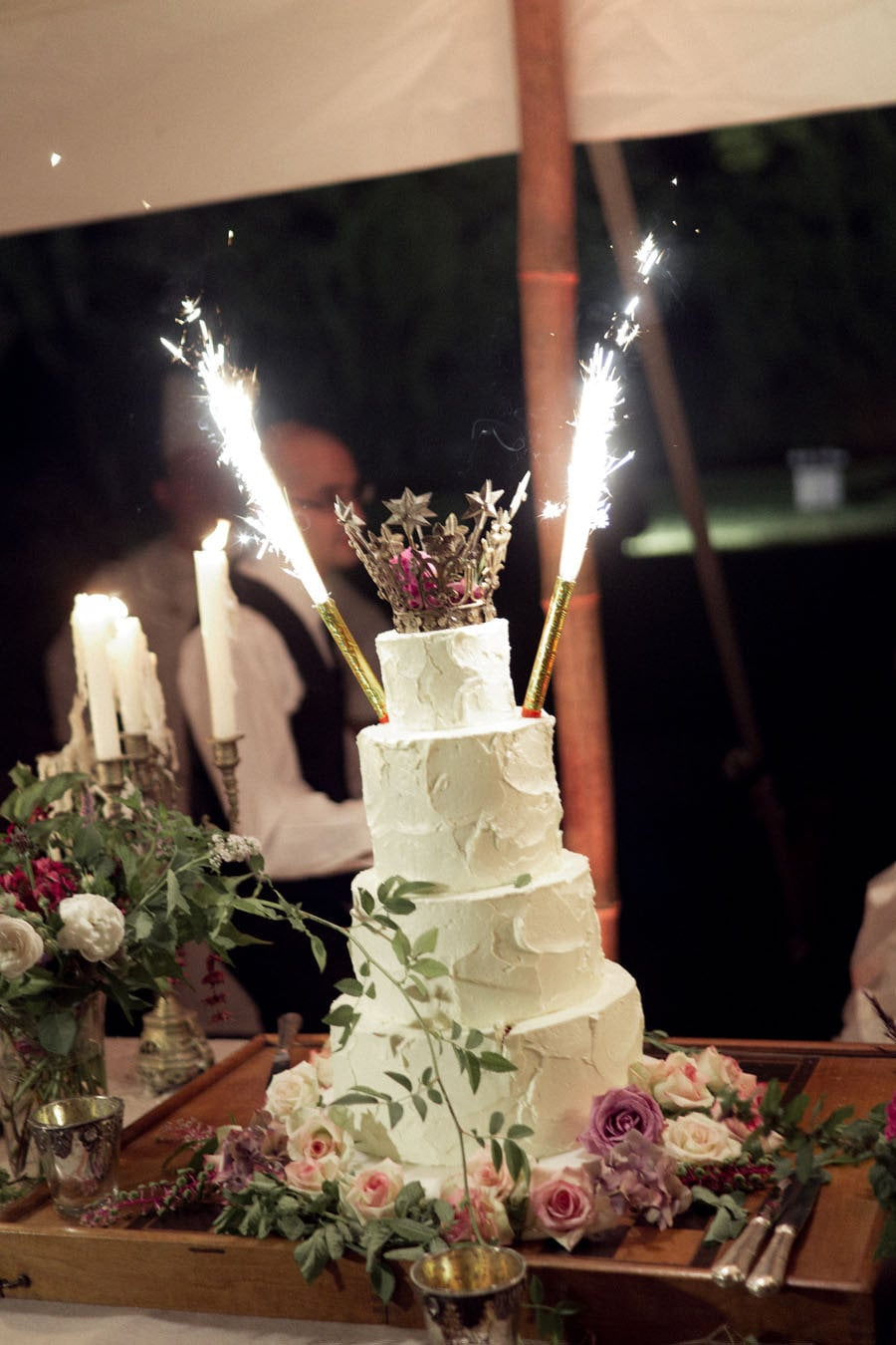 There were even fireworks in the cake.