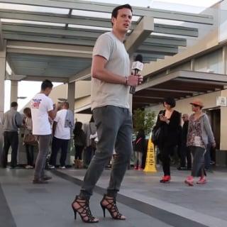 Man Wearing Women's Shoes Video
