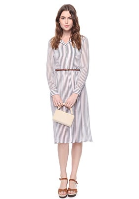 We like to think of this as the perfect ladylike work dress for Summer.  Forever 21 Heritage 1981 Sheer Striped Dress Belt ($25)