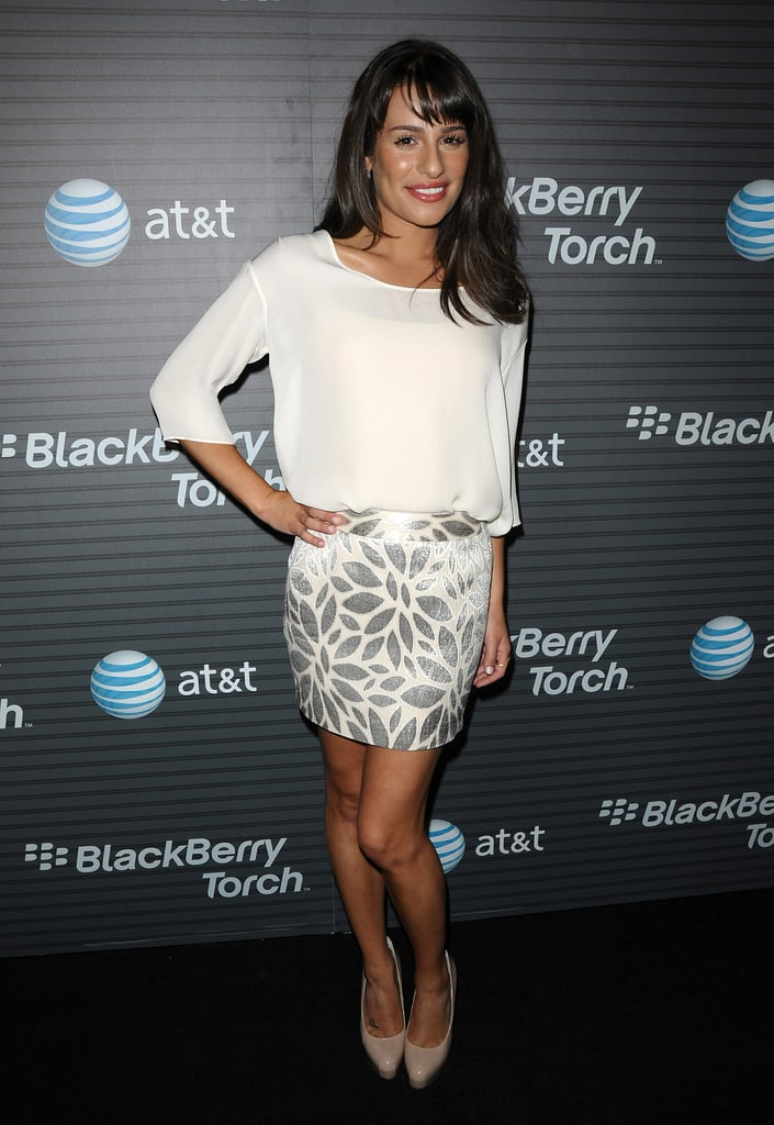 Lea attended a BlackBerry launch event in 2010 wearing a glitzy look from Jenni Kayne.