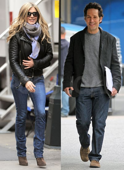 Pictures of Paul Rudd and Jennifer Aniston on the Set of Wanderlust in NYC