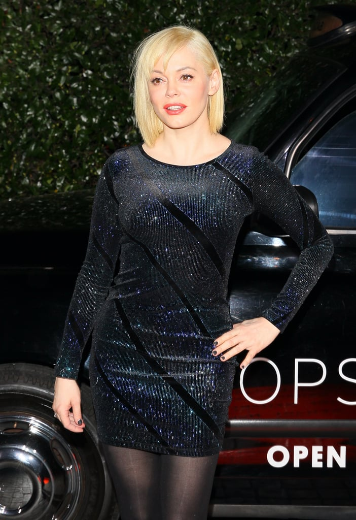 Rose McGowan wore a simple dress.