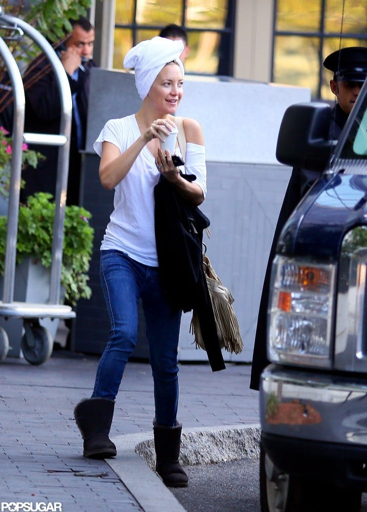 Kate Hudson shared a ride to work with Jon Hamm in Boston.